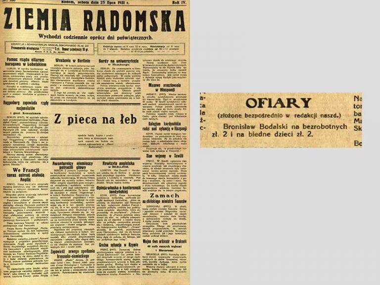Bronisław Bodalski, Don. Ziemia Radomska, 25-7-1931