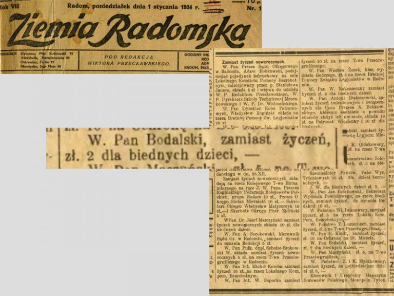 Bronisław Bodalski, Dar. Ziemia Radomska, 1 1 1934.