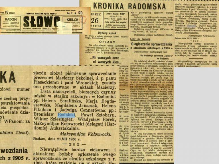 Bodalski Bronisław, Slowo 26-7-1930.