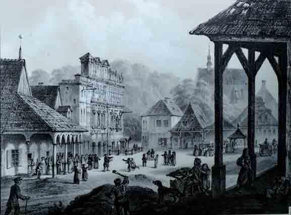 Kazimierz Dolny, Place du Marché, 1857. Par Adam Lerue.