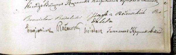 BODALSKI. Signatures sous l'acte de mariage de 1887.