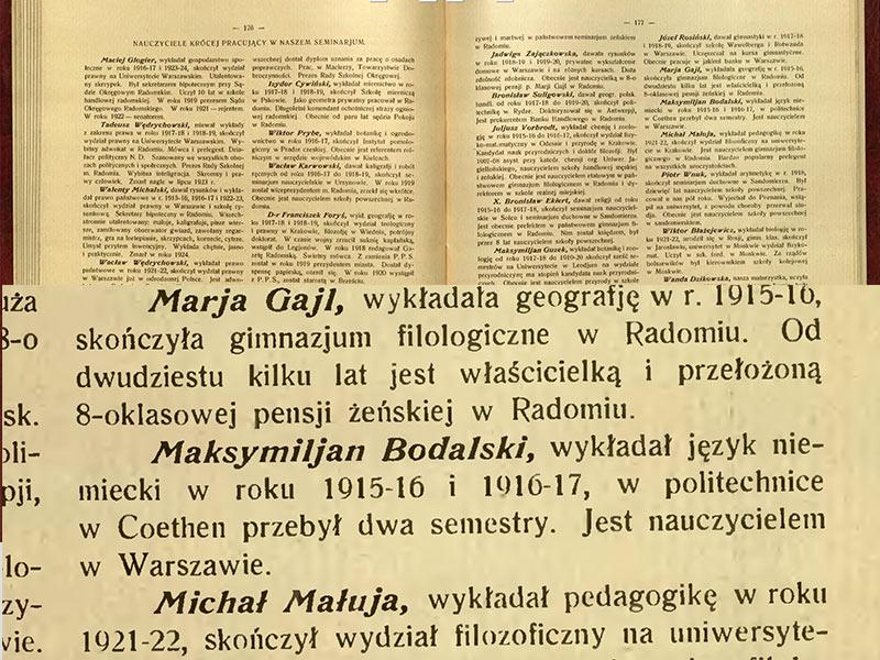 Ecole pour les enseignants les hommes. 1915-1917, Radom. (Maksymiljan est une erreur)