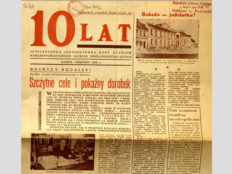 Le Lycée fête ses 10 ans. 1960, Radom.