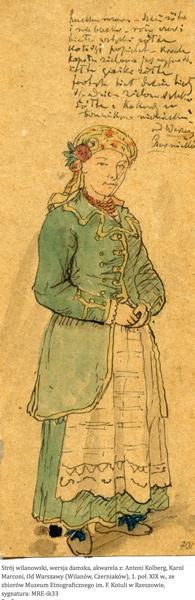 Costume de femme, environs d'Obory, de Piaseczno. Début du 19e siècle. Antoni Kolberg.