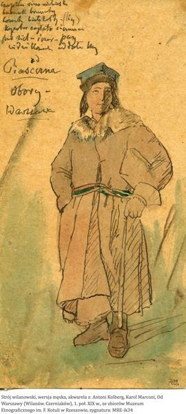 Costume d'homme, environs d'Obory, Piaseczno. Début du 19e siècle. Antoni Kolberg.