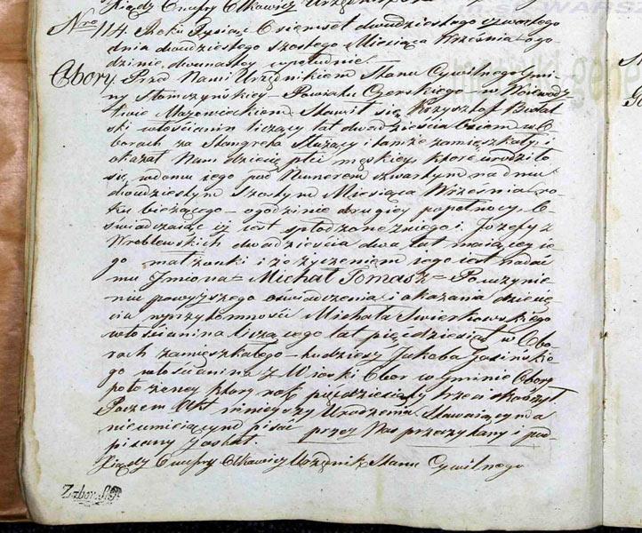 Bodalski Michal Tomasz, acte de naissance, 1824, Obory.