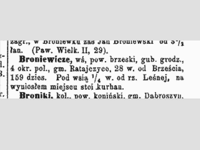 Broniewicze, texte dans le Polski Slownik Geograficzny, 1880.