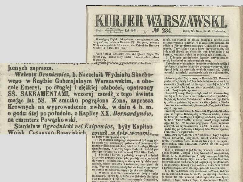 Broniewicz Walenty, annonce de son décès.