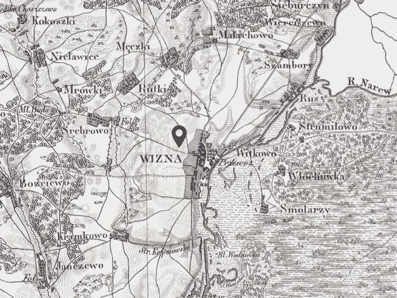 Wizna - carte environ 1864.
