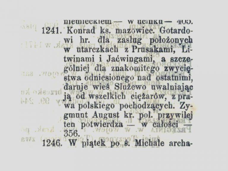 """Radwan. Gotard reçoit Sluzew après la victoire en 1241. """"Herby Rycerstwa Polskiego""""."""