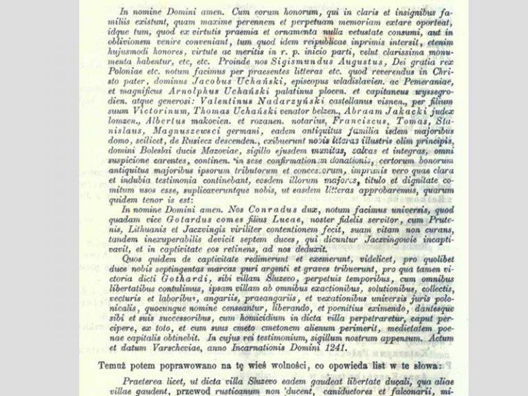 Radwan. Gotard reçoit Sluzew après la victoire en 1241. texte du roi de la Pologne intégrale en latin.