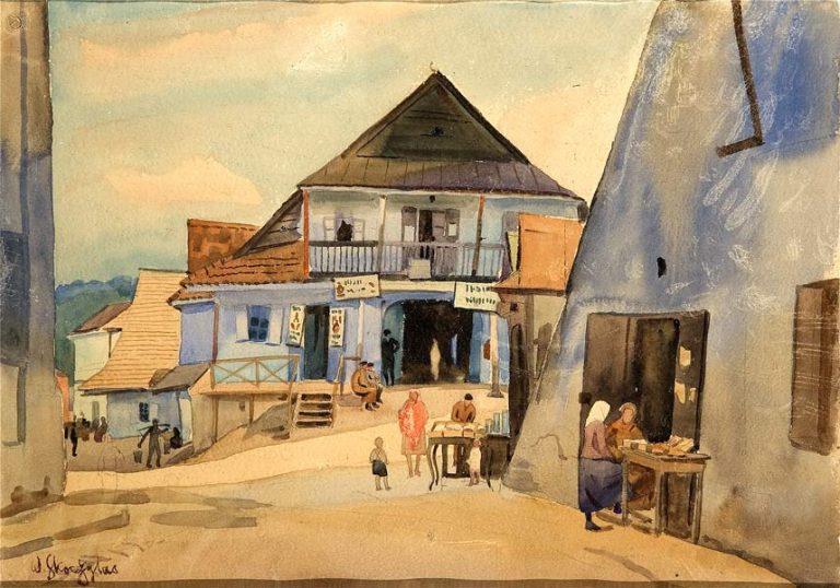 Kazimierz Dolny, 1920. Aquarelle de Wladyslaw Skoczylas.