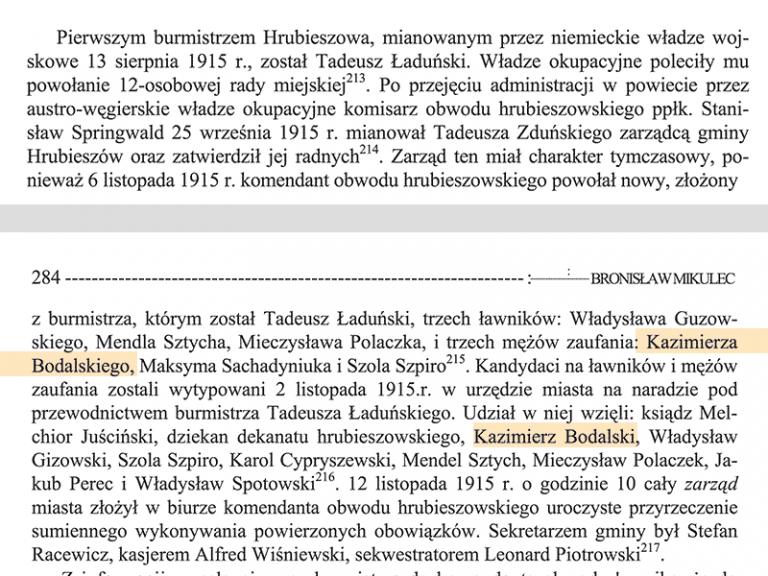 En 1915 Kazimierz Bodalski est Conseiller à la Mairie de Hrubieszow.