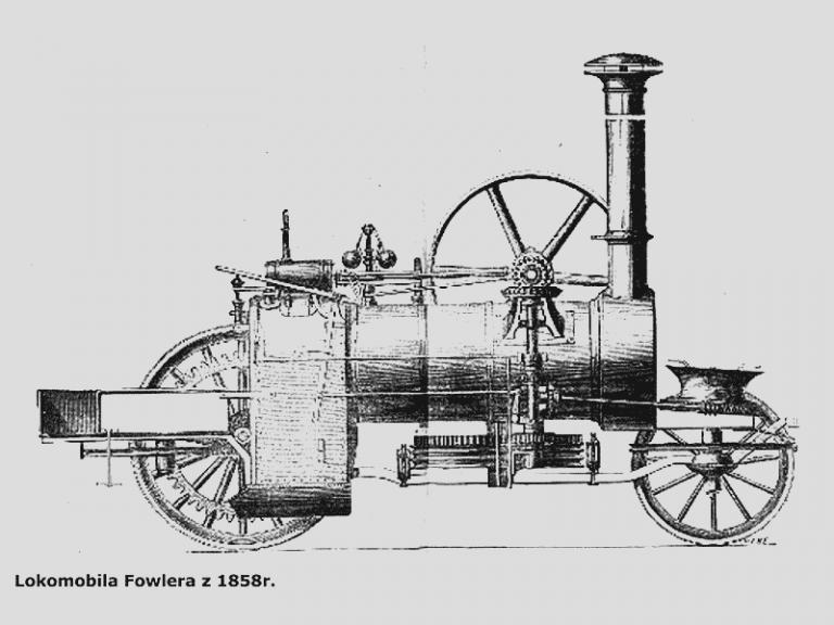 Locomobile de l'époque. Ancêtre du tracteur.