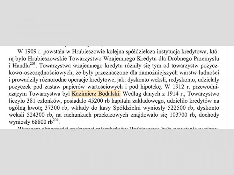 En 1912 Kazimierz Bodalski préside une Société du Crédit Mutuel pour la Petite Industrie et Commerce.