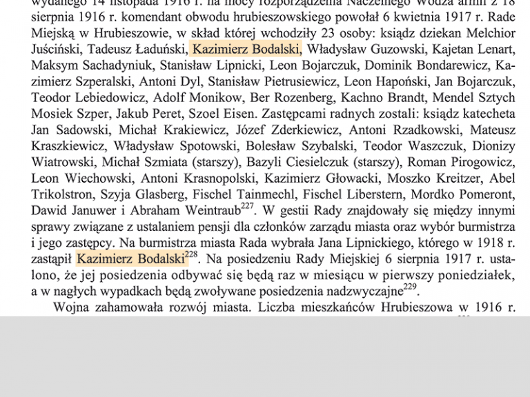 En 1918 Kazimierz Bodalski est nommé Maire de la ville de Hrubieszow.