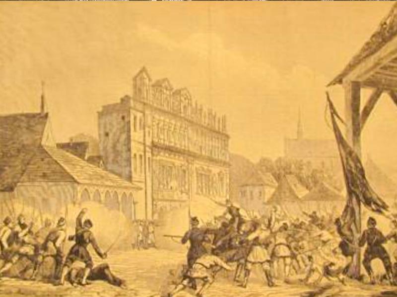 Place centrale de Kazimierz pendant l'insurrection de 1863.
