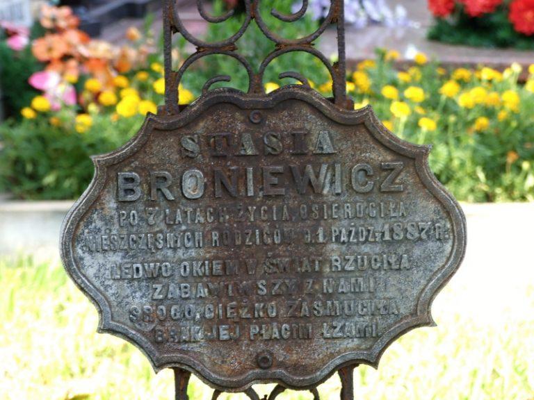 Broniewicz Stanislawa, fille de Jozef, petite-fille de Antoni Jan. Tombe à Pulawy Wlostowice.