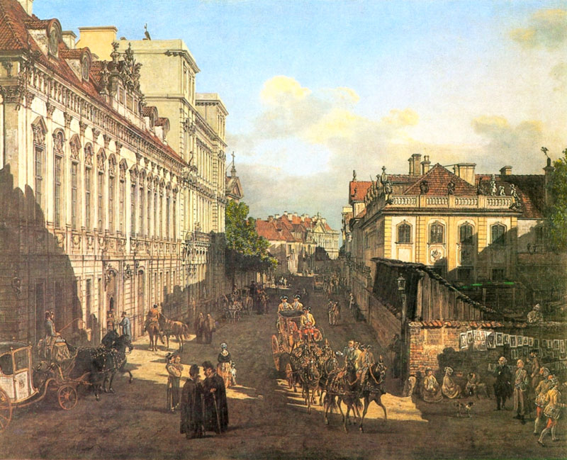 Canaletto. Rue Miodowa, fin 18e siècle.