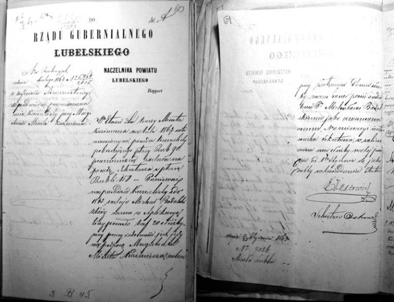 Michal Tomasz Bodalski - une lettre des Archives. 1863.