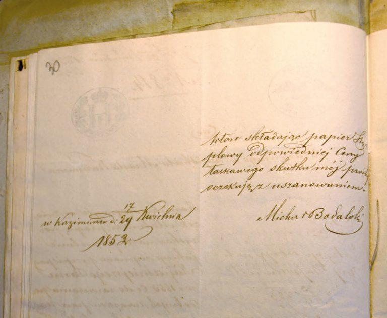 Une belle écriture de Michal Tomasz Bodalski, exemple d'une lettre.