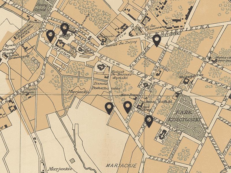 Radom, centre. Carte de 1919.