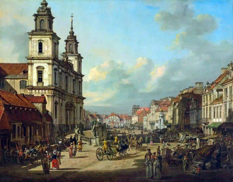 Varsovie. Avenue Krakowskie Przedmiescie avec l'église de Sainte Croix. Fin XVIIIe siècle. Par Canaletto.