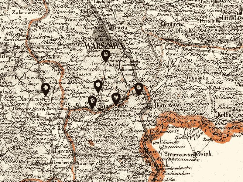 Sud de Varsovie, carte de 1826.