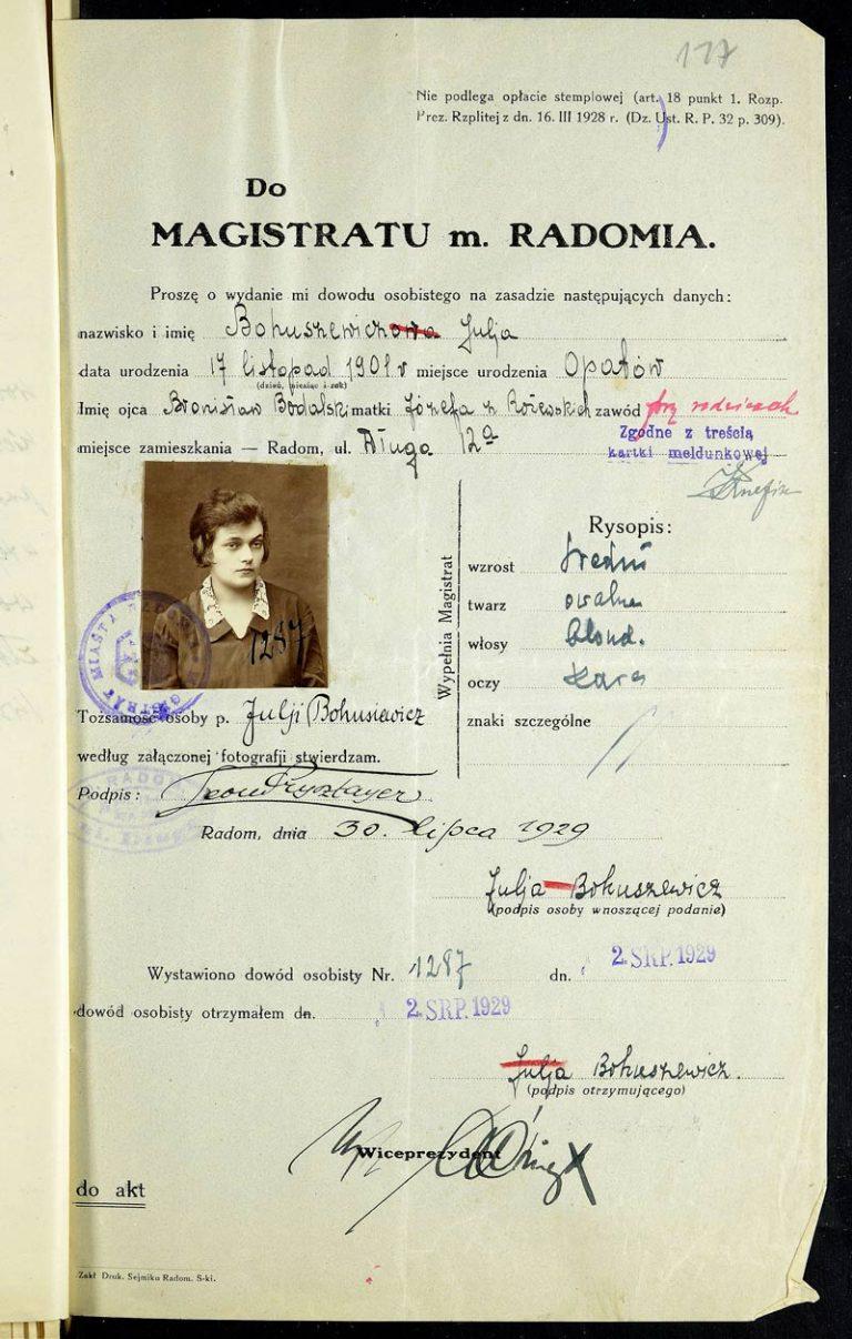 Bohuszewicz Julia, 1929. Demande de la carte d'identité.