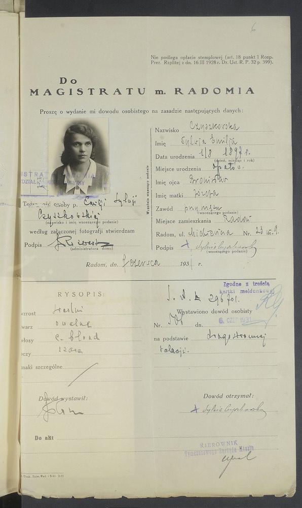 Demande de la carte d'identité, 1931.